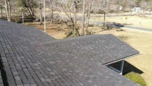 new grey shingles from above right side of house